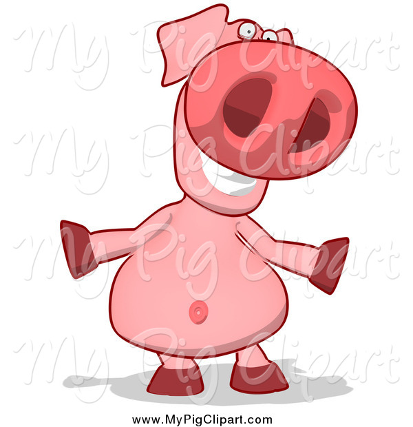 Swine Clipart of a Happy Pig Shrugging