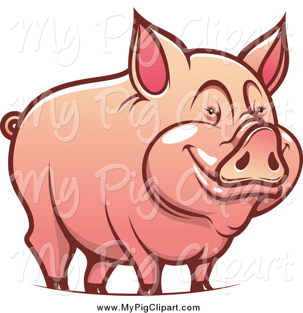Swine Clipart of a Happy Pig Smiling