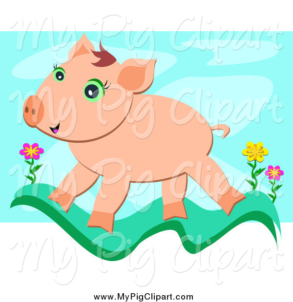 Swine Clipart of a Happy Pig Walking on a Grass Wave with Flowers over Blue