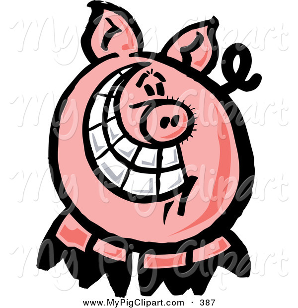Swine Clipart of a Happy Pig with a Big Toothy Grin