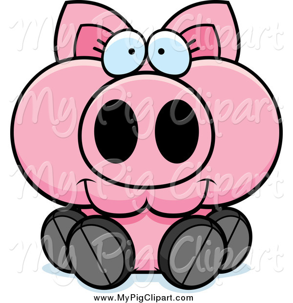 Swine Clipart of a Happy Piglet Sitting