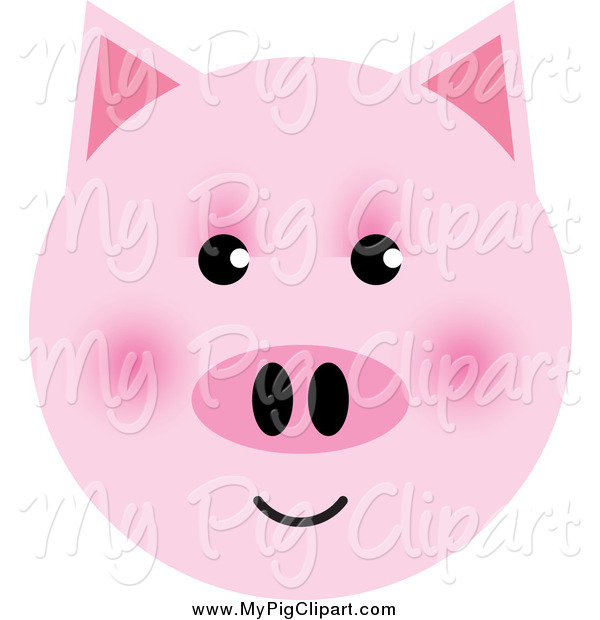 Swine Clipart of a Happy Pink Pig Face