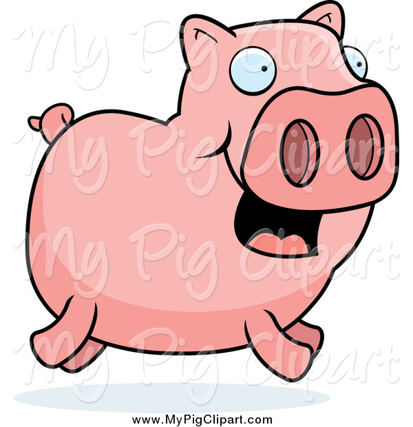 Swine Clipart of a Happy Pink Pig Running