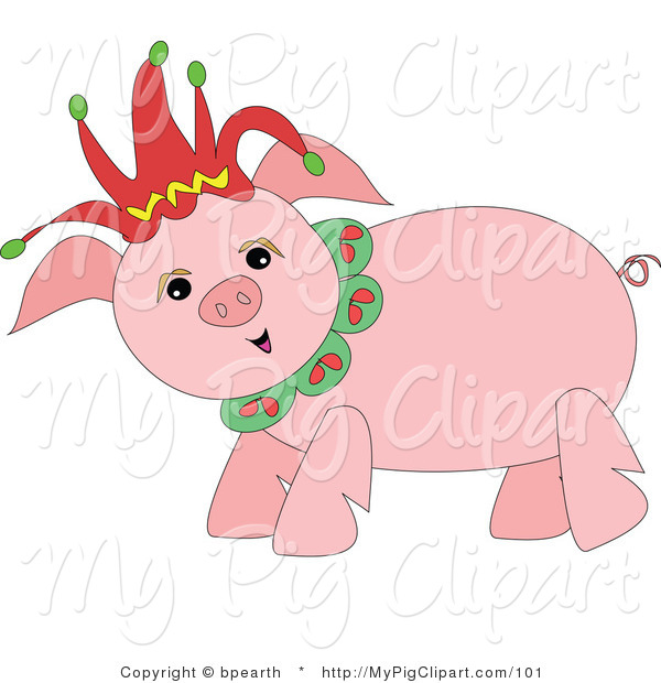 : Swine Clipart of a Happy Pink Pig Wearing a Red Christmas Jester Hat