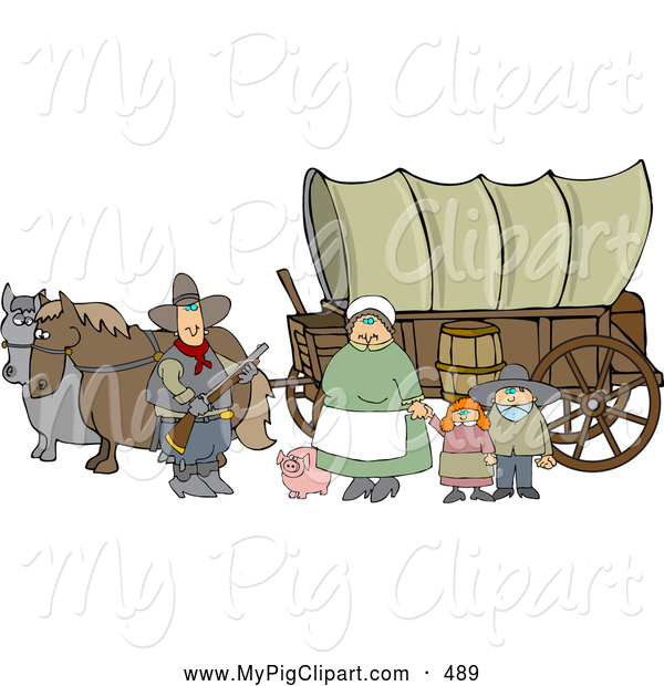 Swine Clipart of a Happy Pioneer Family and Pig in Front of Two Horses Pulling a Covered Wagon Along the Oregon Trai