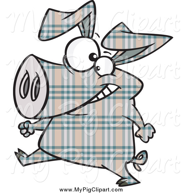 Swine Clipart of a Happy Plaid Pig Walking