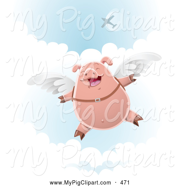 Swine Clipart of a Happy Skydiving Pig with Wings Strapped to His Back