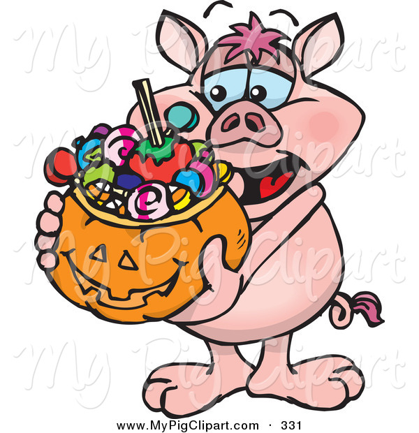 Swine Clipart of a Happy Trick or Treating Pig Holding a Pumpkin Basket Full of Halloween Candy