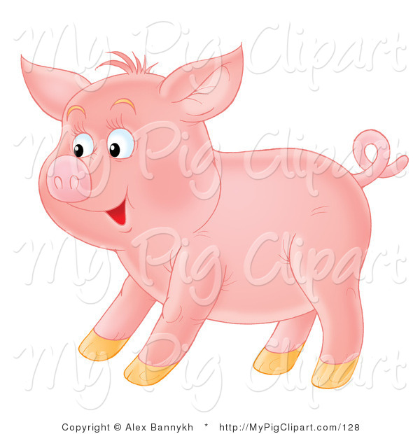 : Swine Clipart of a Happy Young Pink Pig with a Curly Tail, Standing in Profile