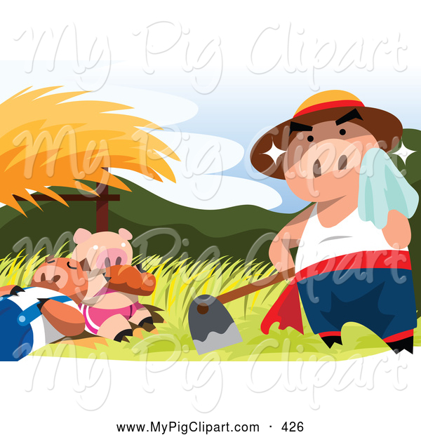 Swine Clipart of a Hard Working Sweaty Pig by Napping Pigs