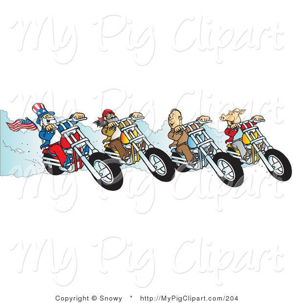 Swine Clipart of a Hog, Two Biker Dudes and Uncle Sam Racing Choppers on White