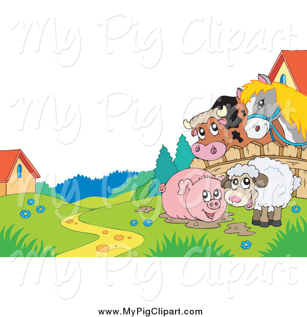 Swine Clipart of a Horse and Cow Looking over a Fence at a Pig in Mud and Sheep