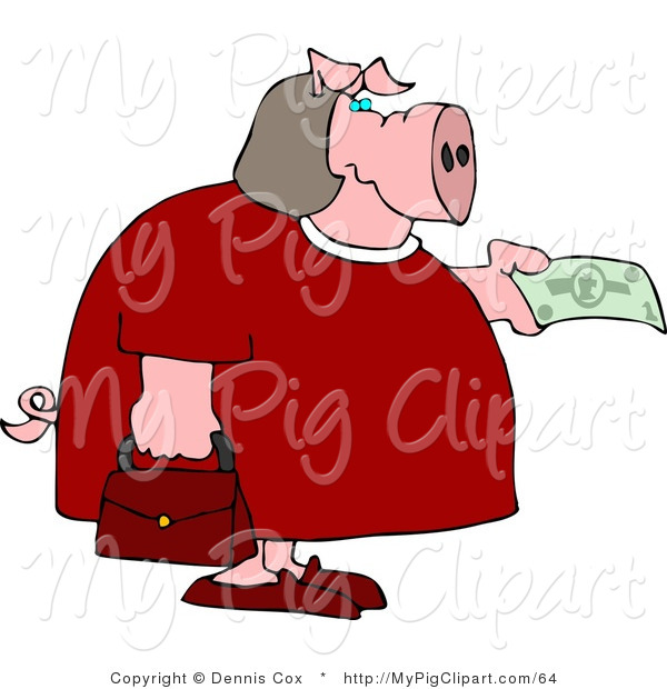 : Swine Clipart of a Human-like Fat Female Pig Holding out a Dollar Bill