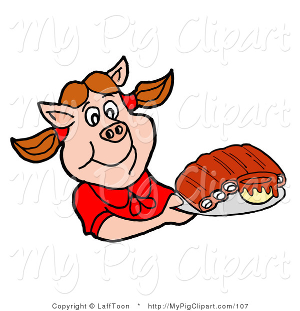 Swine Clipart of a Hungry Pig Girl in a Red Shirt, Holding a Tray of BBQ Ribs