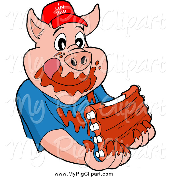 Swine Clipart of a Hungry Pig Wearing a Hat and Eating Messy Ribs
