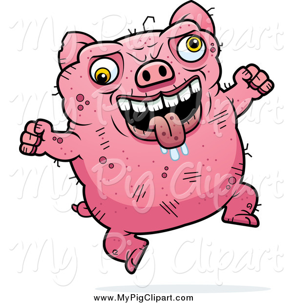 Swine Clipart of a Jumping Drooling Ugly Pig