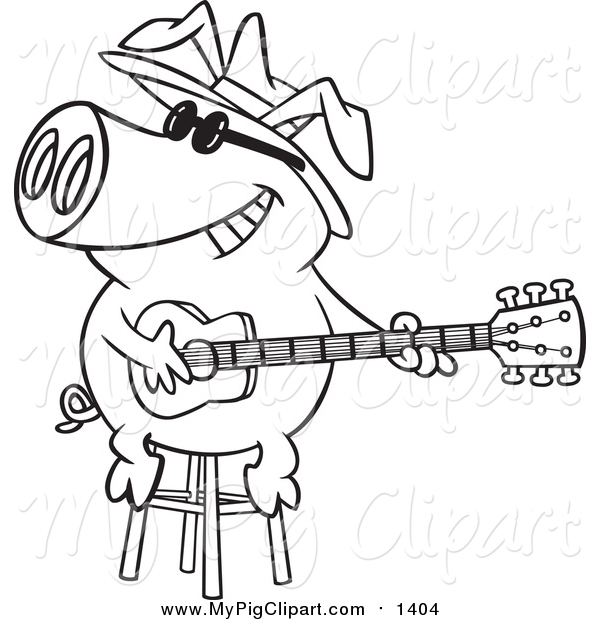 Swine Clipart of a Lineart Blues Pig Musician Playing a Guitar