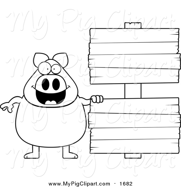 Swine Clipart of a Lineart Chubby Pig with Wooden Signs