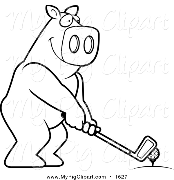Swine Clipart of a Lineart Golfing Pig Holding the Club Against the Ball on the Tee