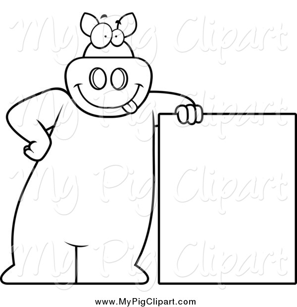 Swine Clipart of a Lineart Goofy Pig Leaning on a Sign