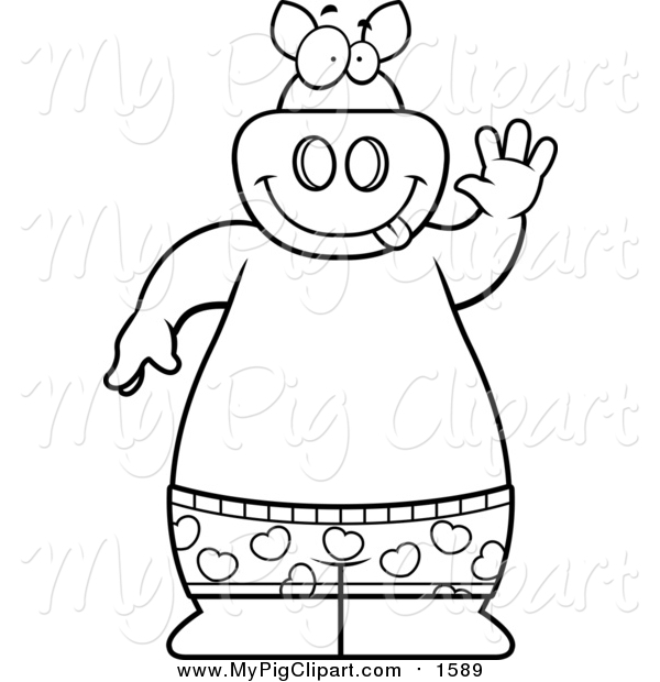 Swine Clipart of a Lineart Happy Pig Waving and Wearing Boxers