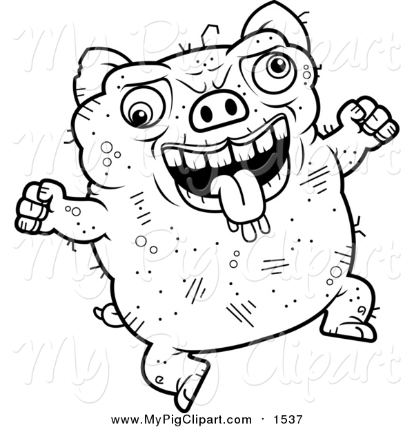 Swine Clipart of a Lineart Jumping Ugly Pig