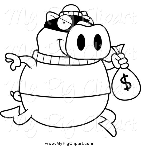 : Swine Clipart of a Lineart Pig Robbing a Bank