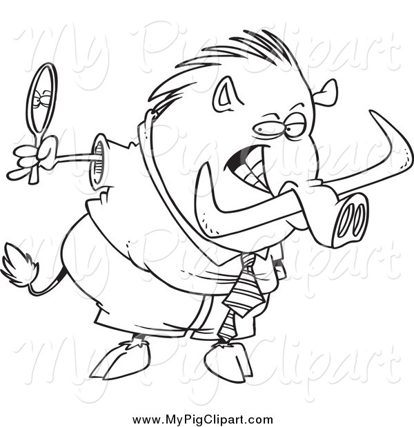 Swine Clipart of a Lineart Vain Boar Looking in a Mirror