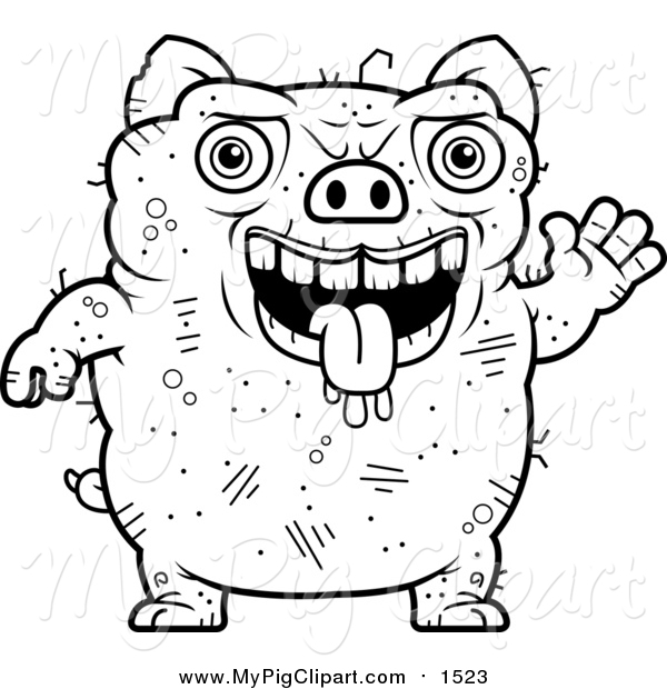 Swine Clipart of a Lineart Waving Ugly Pig