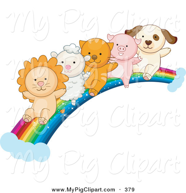 Swine Clipart of a Lion, Lamb, Kitten, Piglet and Puppy Sliding down a Rainbow on White