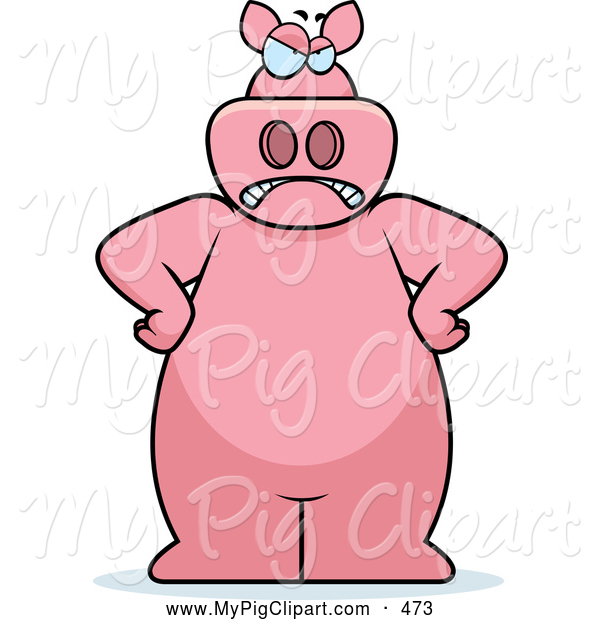 Swine Clipart of a Mad Pink Pig with His Hands on His Hips