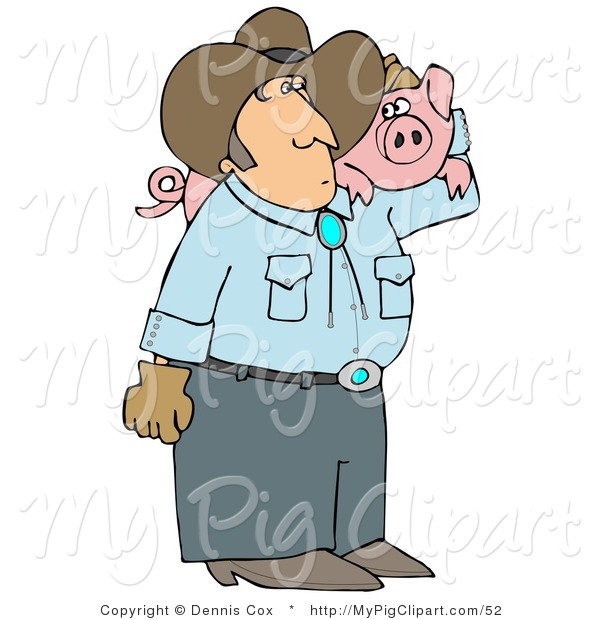 Swine Clipart of a Male Farmer Carrying a Chubby Pet Pig on His Shoulder
