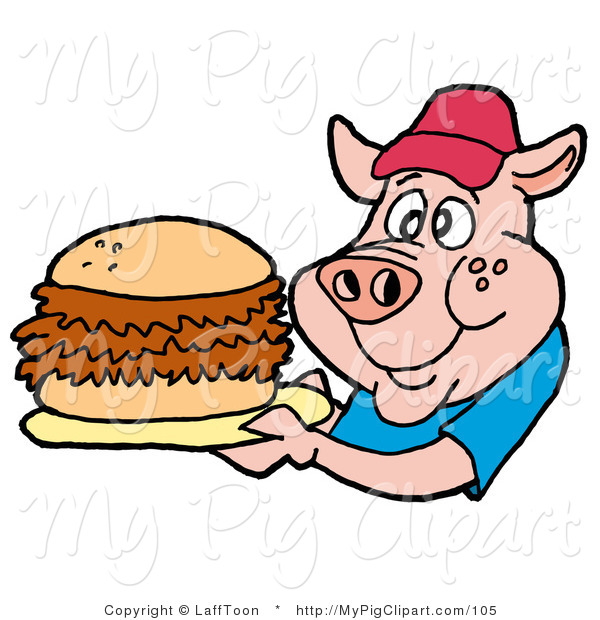 Swine Clipart of a Male Fast Food Pig in a Red Hat and Blue Shirt, Holding a Giant Pulled Pork Sandwich