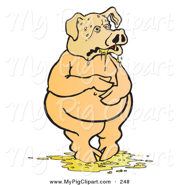Swine Clipart of a Nauseated Pig Standing in Throw up