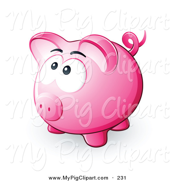 Swine Clipart of a Nervous Pink Piggy Bank Looking Upwards, Hoping Not to Be Smashed