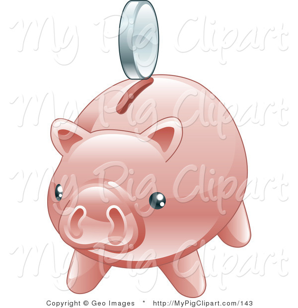Swine Clipart of a Nickel Hovering Above the Slot of a Shiny Pink Piggy Bank