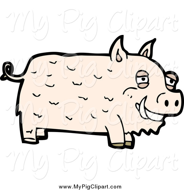 Swine Clipart of a Pale Pig