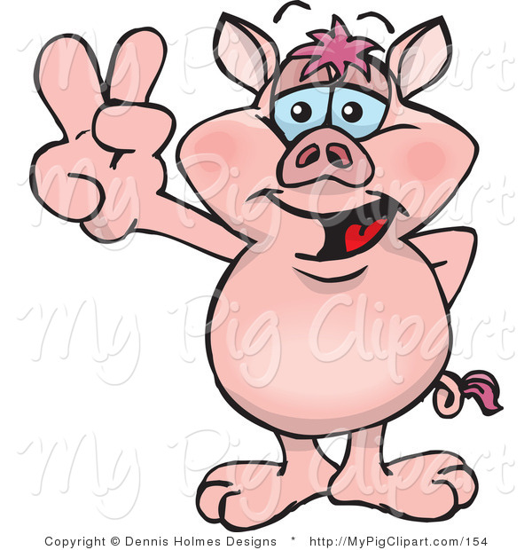 Swine Clipart of a Peaceful Pink Pig Smiling and Gesturing the Peace Sign