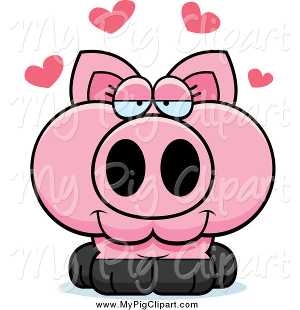 : Swine Clipart of a Pig in Love