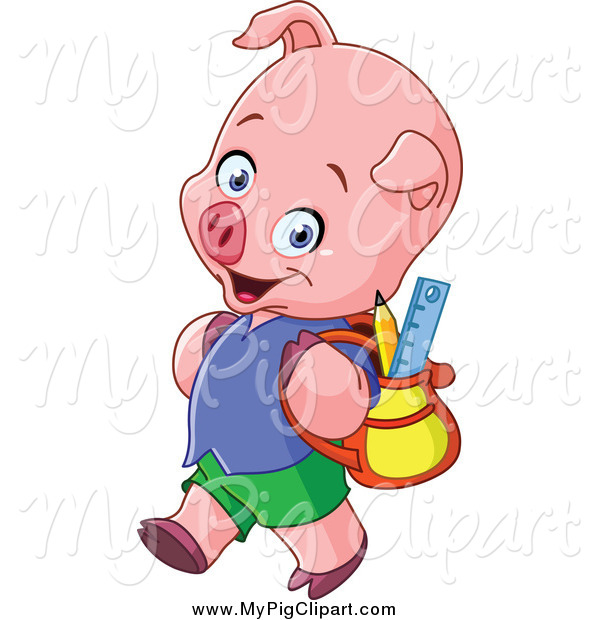 Swine Clipart of a Pig Student Walking to School