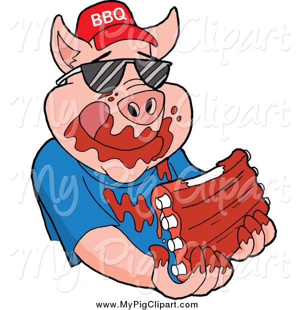 Swine Clipart of a Pig Wearing Sunglasses and a Bbq Hat and Eating ...