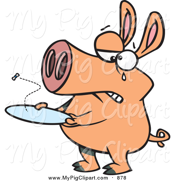 Swine Clipart of a Pig with an Empty Plate and Fly