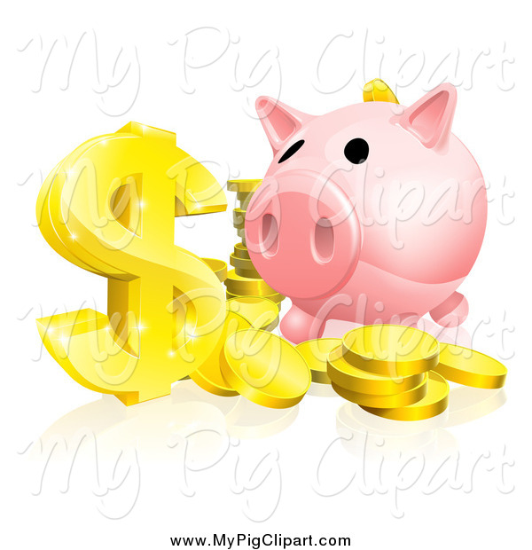 Swine Clipart of a Piggy Bank and Abundance of Gold Coins and Dollar Symbol