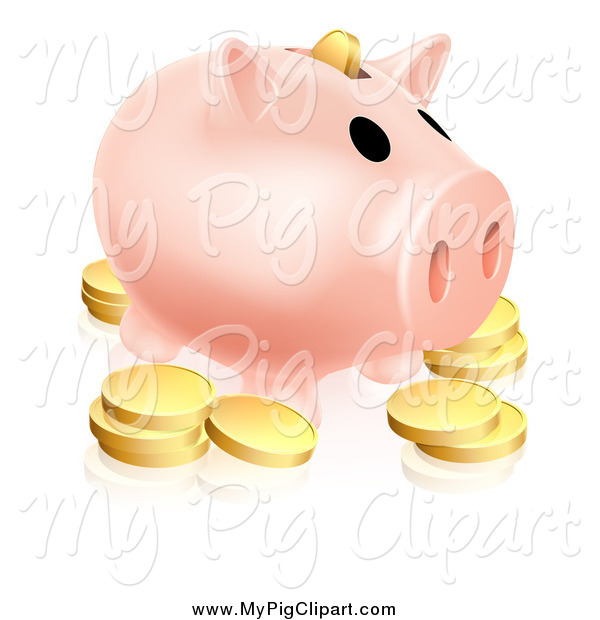 Swine Clipart of a Piggy Bank and Golden Coins