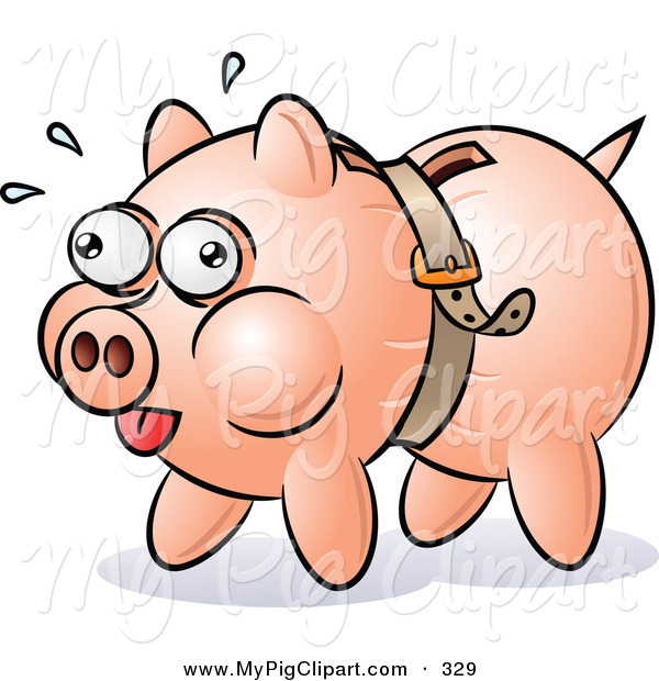 Swine Clipart of a Piggy Bank Being Squeezed by a Belt on White