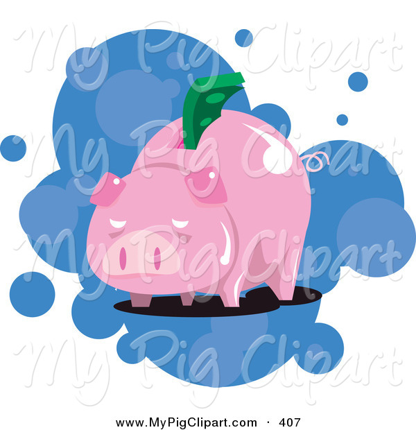 Swine Clipart of a Piggy Bank with Money Stuffed in the Slot