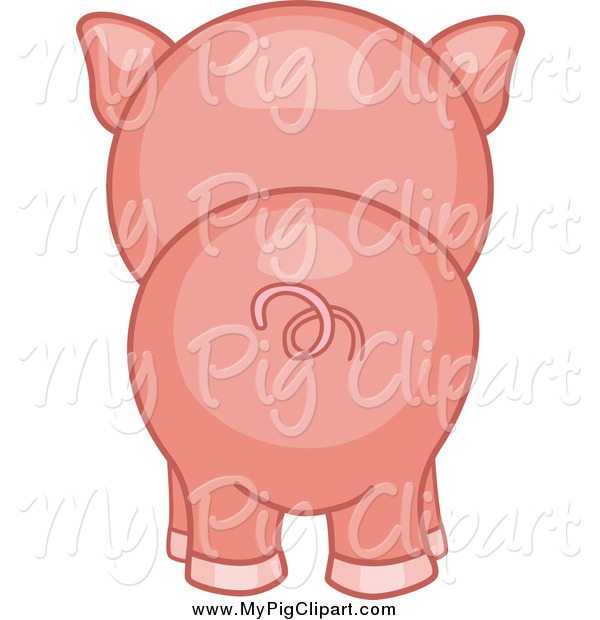Swine Clipart of a Piggy Butt from Behind