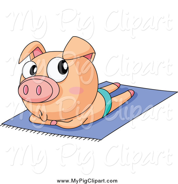 : Swine Clipart of a Piggy Sun Bathing Topless