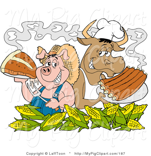 Swine Clipart of a Pink Chef Pig and Cow Standing Back to Back Behind Corn, Holding up Steak and Bbq Ribs