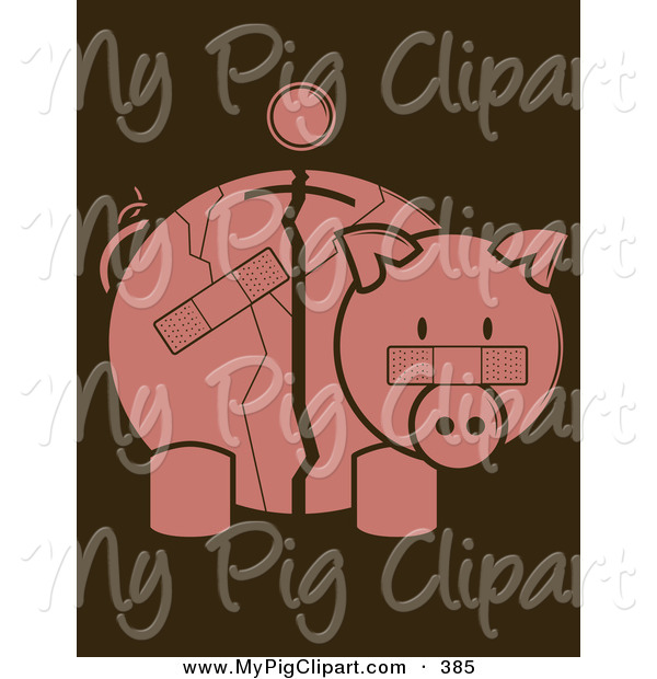 Swine Clipart of a Pink Coin over a Cracked and Bandaged Piggy Bank